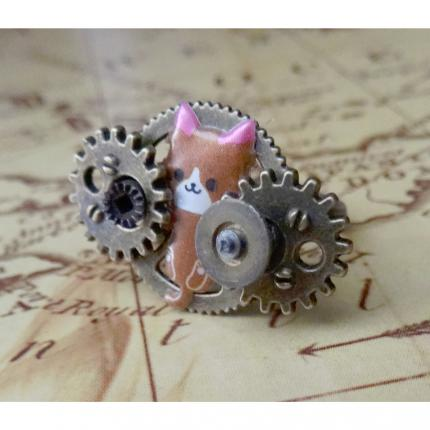 bague chat steampunk.