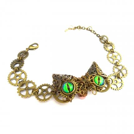 bracelet chat steampunk