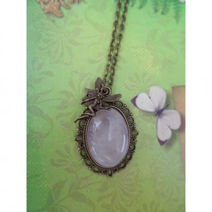 Collier féerique en quartz rose