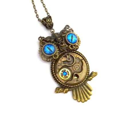 collier hibou steampunk