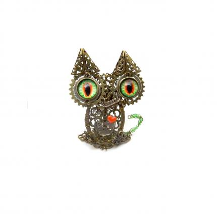 Chat steampunk mort-vivant figurine Halloween